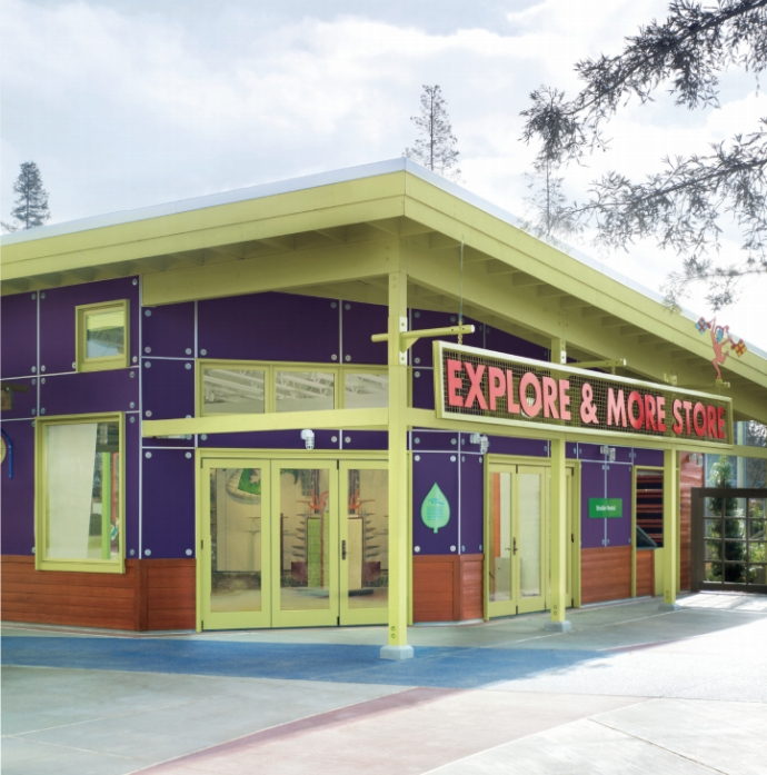 Zoo gift shop with brightly colored Marvin Windows and Doors