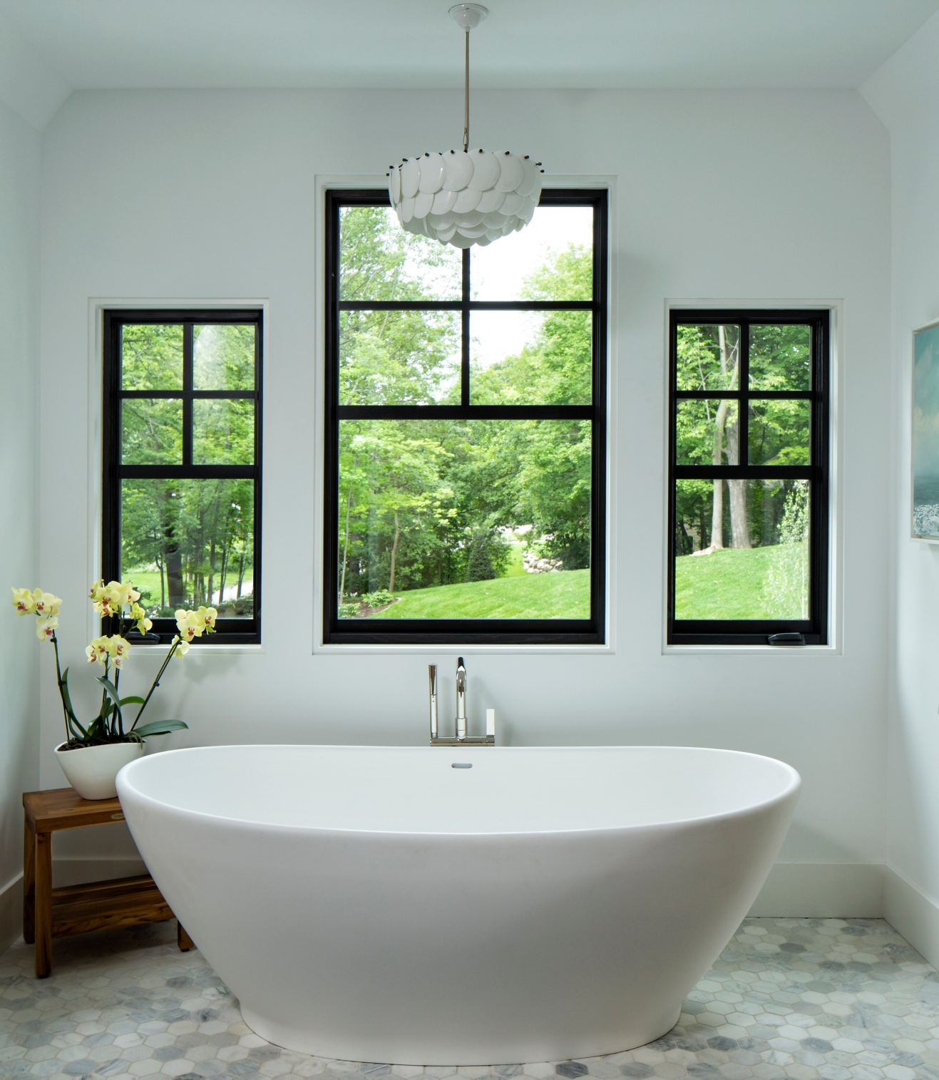 Large Marvin Contemporary Casement Windows in Bathroom