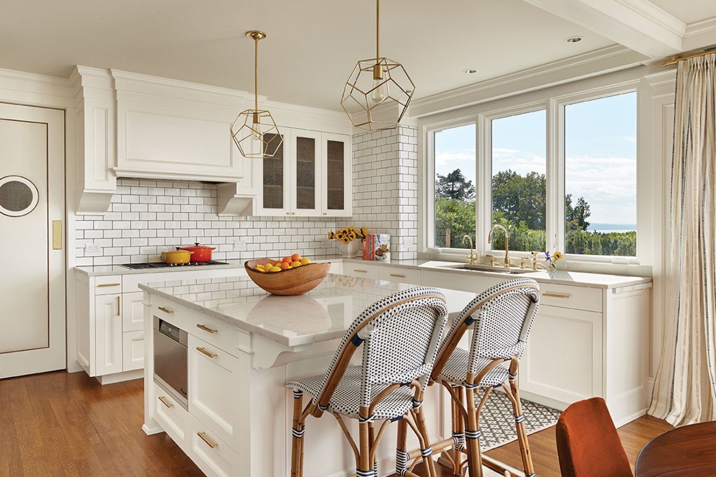 Transitional, white tile and marble kitchen in Queen Anne home