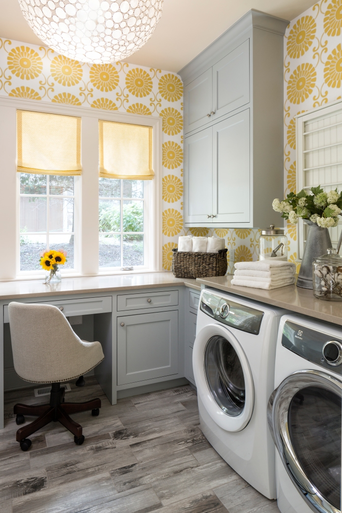 Yellow Statement Wallpaper Laundry Room