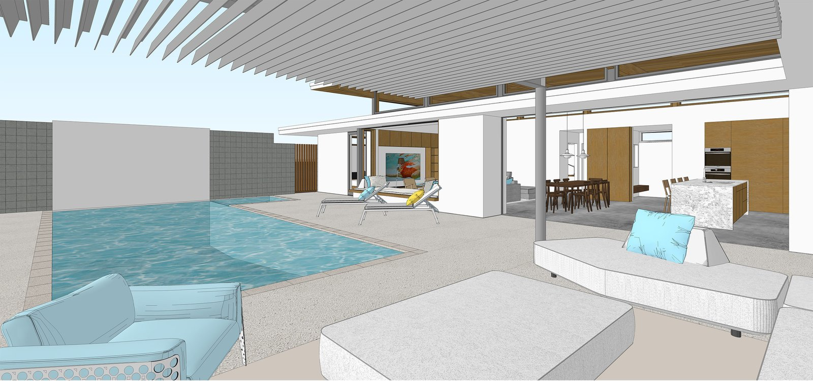 Dwell Axiom Desert House Joel Turkel Interior Rendering