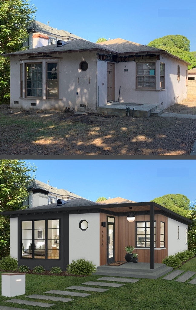 Before and after of a completely reimagined stucco bungalow, complete with new windows