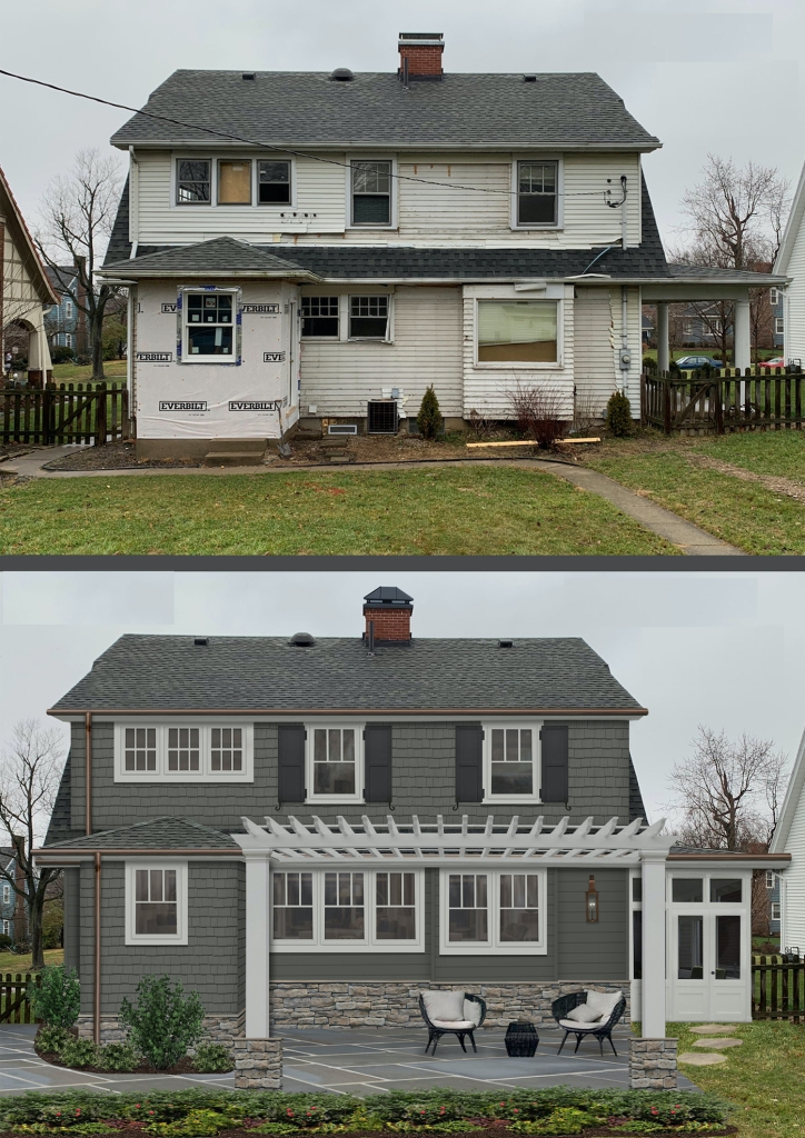 Before and after of the back of a home with new siding, a new pergola and patio, and new windows