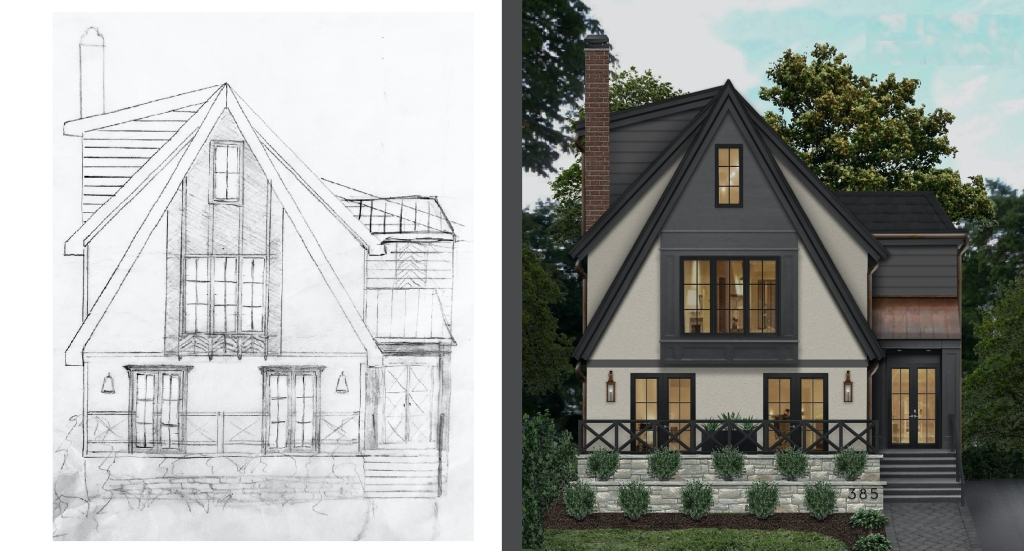 A sketched home rendered with all building materials, including windows and doors